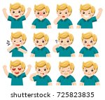 set of adorable boy facial... | Shutterstock .eps vector #725823835