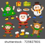 set of cute kids dressed in... | Shutterstock .eps vector #725827831
