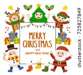 merry christmas and new year... | Shutterstock .eps vector #725827849