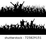 crowd concert vector silhouette.... | Shutterstock .eps vector #725829151