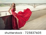beautiful woman in red... | Shutterstock . vector #725837605