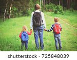 father taking kids to school or ... | Shutterstock . vector #725848039