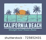 tropical sunset. surf and beach.... | Shutterstock .eps vector #725852431