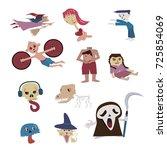 set of halloween characters ... | Shutterstock .eps vector #725854069