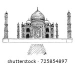 city taj mahal hand drawn and... | Shutterstock .eps vector #725854897
