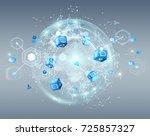 flying earth network interface... | Shutterstock . vector #725857327