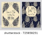 two cards decorated with frame... | Shutterstock .eps vector #725858251