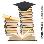 stack of colorful books and... | Shutterstock .eps vector #72586351