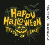 happy halloween stylish... | Shutterstock .eps vector #725867587