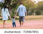 father and mother with son... | Shutterstock . vector #725867851