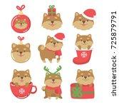 cartoon dogs cute christmas... | Shutterstock .eps vector #725879791