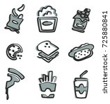 snack icons freehand 2 color | Shutterstock .eps vector #725880841