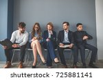 tired candidates came in for an ... | Shutterstock . vector #725881141