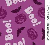 halloween theme seamless pattern | Shutterstock .eps vector #725887174