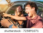 couple in a car at sunset  with ... | Shutterstock . vector #725891071