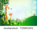 animal and green summer... | Shutterstock .eps vector #725892391