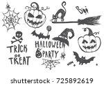vector set of halloween... | Shutterstock .eps vector #725892619