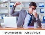 businessman sweating... | Shutterstock . vector #725894425