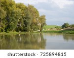 trees reflections in water of... | Shutterstock . vector #725894815
