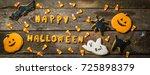 halloween concept with cookies... | Shutterstock . vector #725898379