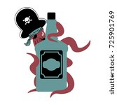 octopus pirate and bottle of... | Shutterstock .eps vector #725901769