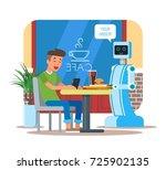 illustration of robot waiter... | Shutterstock . vector #725902135