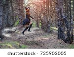 levitation  a witch in a hat... | Shutterstock . vector #725903005