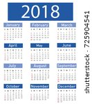 calendar for 2018 vector... | Shutterstock .eps vector #725904541