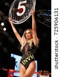 Small photo of Brno, Czech Republic. September 29, 2017. FUSION FN16: CAGE FIGHT. Ring girl at gala of martial arts fights in Brno BobyCenter.