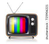 vector retro tv with color frame | Shutterstock .eps vector #725906221