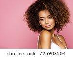 beauty portrait of black woman... | Shutterstock . vector #725908504