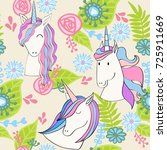 magic cute unicorn with flowers.... | Shutterstock .eps vector #725911669
