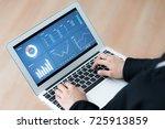 business women reviewing data... | Shutterstock . vector #725913859