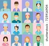 medicine set with doctors and... | Shutterstock .eps vector #725916904