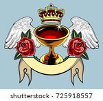 the grail  with wings and... | Shutterstock .eps vector #725918557