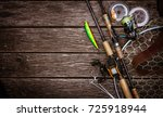 fishing tackle background. | Shutterstock . vector #725918944