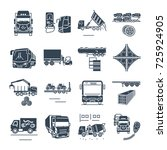 set of black icons freight and...   Shutterstock .eps vector #725924905