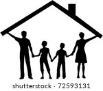silhouette family safe at home... | Shutterstock . vector #72593131