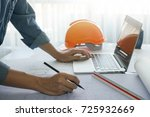 architect working with sketch... | Shutterstock . vector #725932669