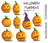 happy halloween pumpkins set.... | Shutterstock .eps vector #725933485