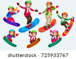 snowboard jump isolated icons.... | Shutterstock .eps vector #725933767
