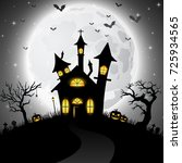halloween background with scary ... | Shutterstock . vector #725934565