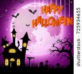 halloween background with... | Shutterstock . vector #725934655