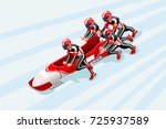 bobsleigh sled race athlete... | Shutterstock .eps vector #725937589