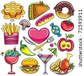 set of ready to eat food icons... | Shutterstock .eps vector #72593911