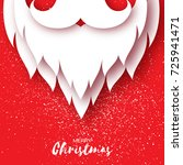 merry christmas card with paper ... | Shutterstock . vector #725941471