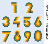 numbers set hipster  parallel... | Shutterstock .eps vector #725941639