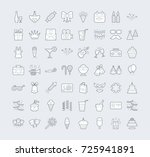 a set of simple outline party... | Shutterstock .eps vector #725941891