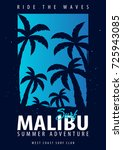 malibu surfing graphic with... | Shutterstock .eps vector #725943085