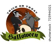 werewolf holding skull with the ...   Shutterstock .eps vector #725944321